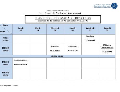 PLANNING HEBDOMADAIRE DES COURS Semaine du 28 octobre au 02 novembre (Semaine 8) [Modifié]