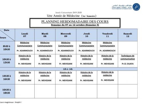 PLANNING HEBDOMADAIRE DES COURS Semaine du 07 au 12 octobre (Semaine 5) [Modifié]