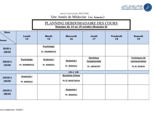 PLANNING HEBDOMADAIRE DES COURS Semaine du 14 au 19 octobre (Semaine 6)