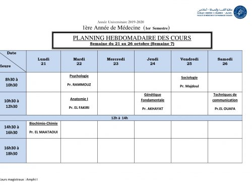 PLANNING HEBDOMADAIRE DES COURS Semaine du 21 au 26 octobre (Semaine 7) [Modifié]