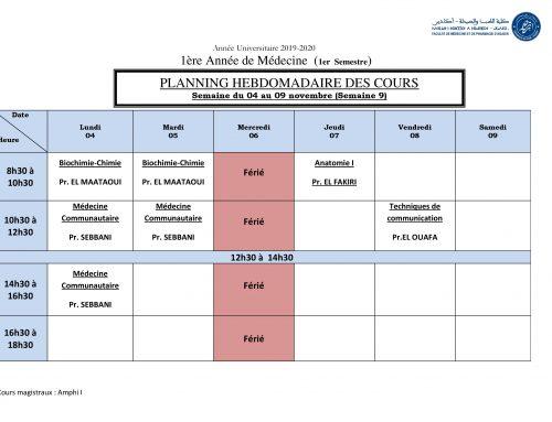 PLANNING HEBDOMADAIRE DES COURS Semaine du 04 au 09 novembre (Semaine 9)