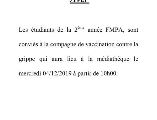 Avis aux étudiants de la 2  ème année – Vaccination