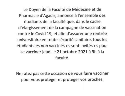 Avis aux étudiants – Vaccination